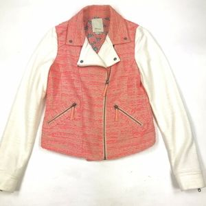 Elevenses Anthropologie Tweed Zip Moto Jacket 6